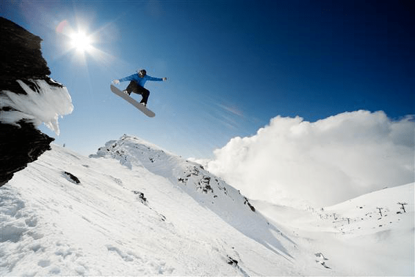 Snowboarder on the rule of thirds with lead room