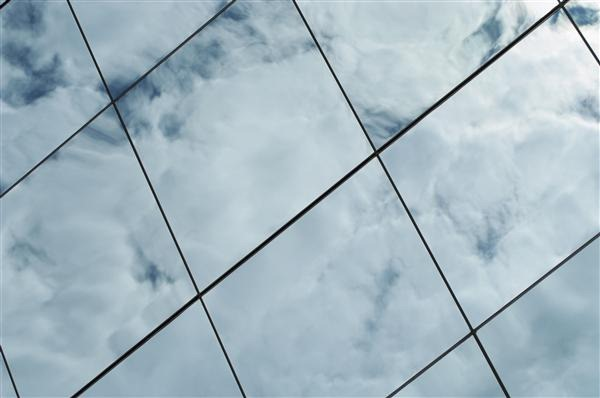 Close-Up of a Cloud Reflected on Glass