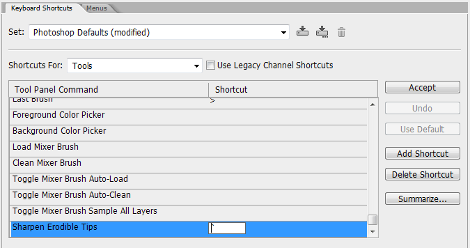 Setting a keyboard shortcut for the Sharpen Erodible Tips command