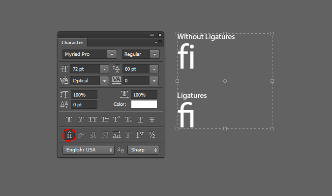 OpenType features in the Characters palette