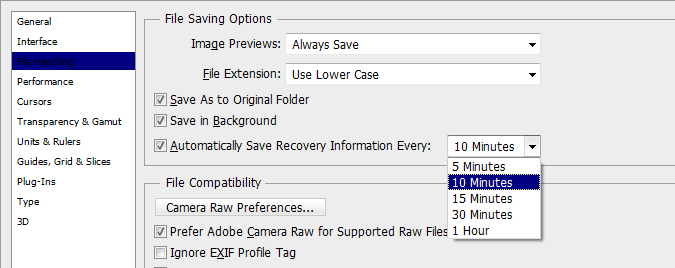 Changing Auto Save settings in the Preferences