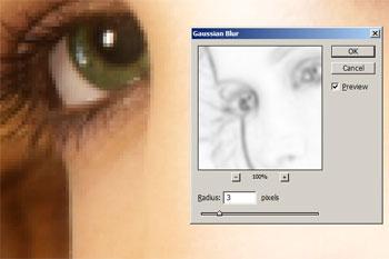 Aplicar um borrão gaussian à máscara da camada com o  achado afia o filtro aplicado.