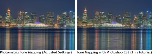 At a glance, they both look very similar. Photomatrix seems to produce slightly more saturated colors.