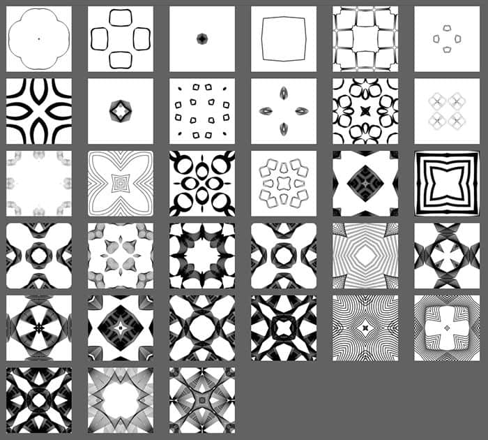 Thumbnails of Spirograph Patterns