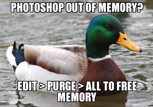 Photoshop out of memory? Edit > Purge > All to free memory