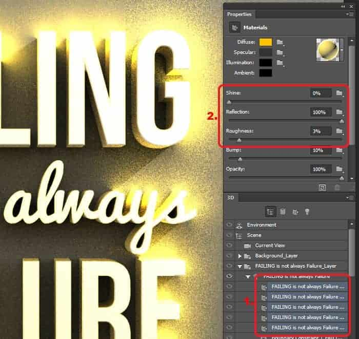 Create Inspirational 3D Gold Text with Photoshop Extended