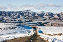 Iran, North Khorasan province, Mahnan village near Bojnourd Families Sliding on Snow 00