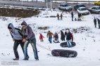 Iran, North Khorasan province, Mahnan village near Bojnourd Families Sliding on Snow 06
