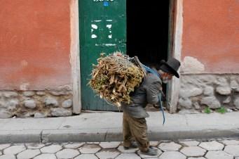 Vieillard portant du bois - Potosi - Bolivie.