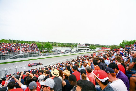 Fans auf der Tribüne bei einem Formel 1 Rennen in Montreal, Kanada. Juni 2015 // Fans in the stand on Fromula 1 race in Montreal, Canada. June 2015
