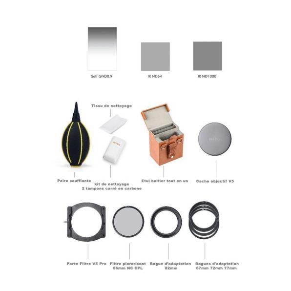Nisi Kit Filtres Debutant 100 Mm V5 Pro Porte Filtres Filtres Bagues Accessoires