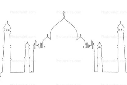 Taj Mahal outline, line drawing, shape Images, Photography