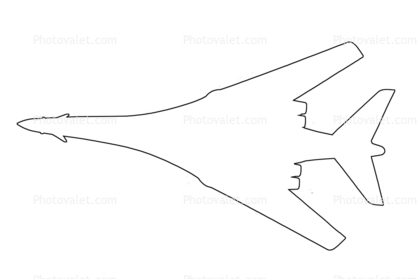 Rockwell B-1B Bomber outline, line drawing Images
