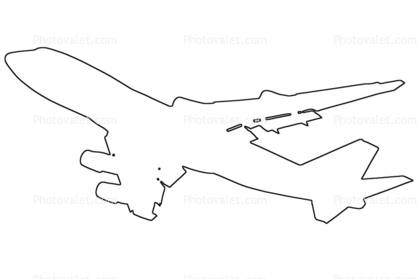 Boeing 747-412F, 747-400 outline, line drawing, shape, 747