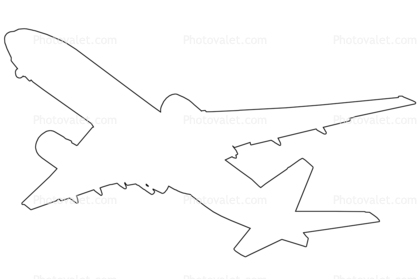 Boeing 777 outline, line drawing, shape Images