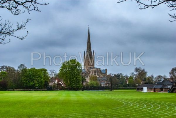 Norwich Cathedral across playing fields - Photo Walk UK
