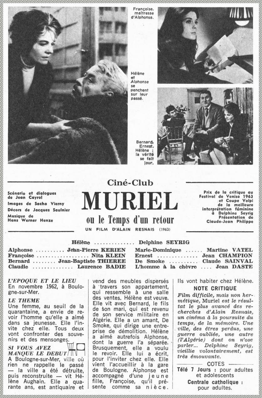 Muriel Ou Le Temps D'un Retour : muriel, temps, retour, Données, Films, Français, Images