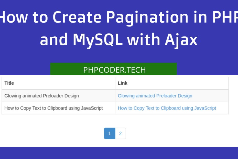 create pagination in php ajax