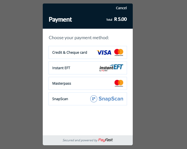 Onsite PayFast Payment Integration