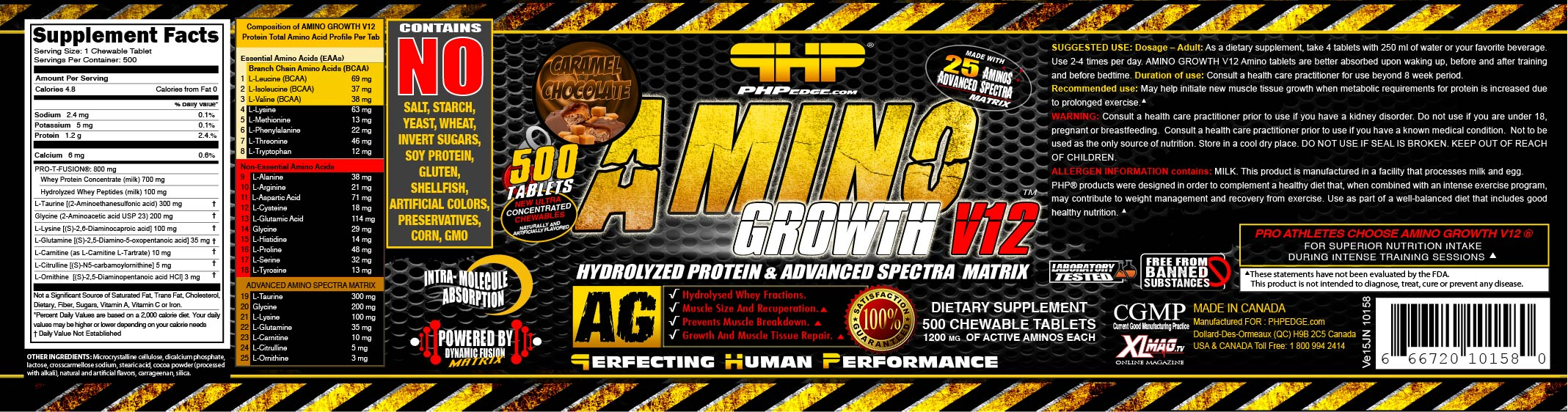 AMCH0500-1200-10158 AMINO GROWTH V12 ® CARAMEL CHOCOLATE USA VE15JN