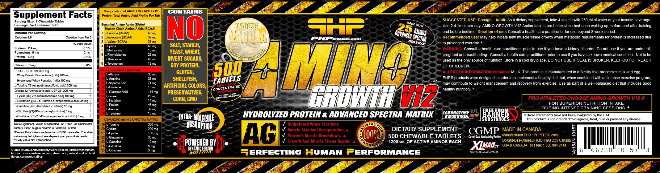 AMVA0500-1200-10157 AMINO GROWTH V12 ® DARING VANILLA USA VE15JN