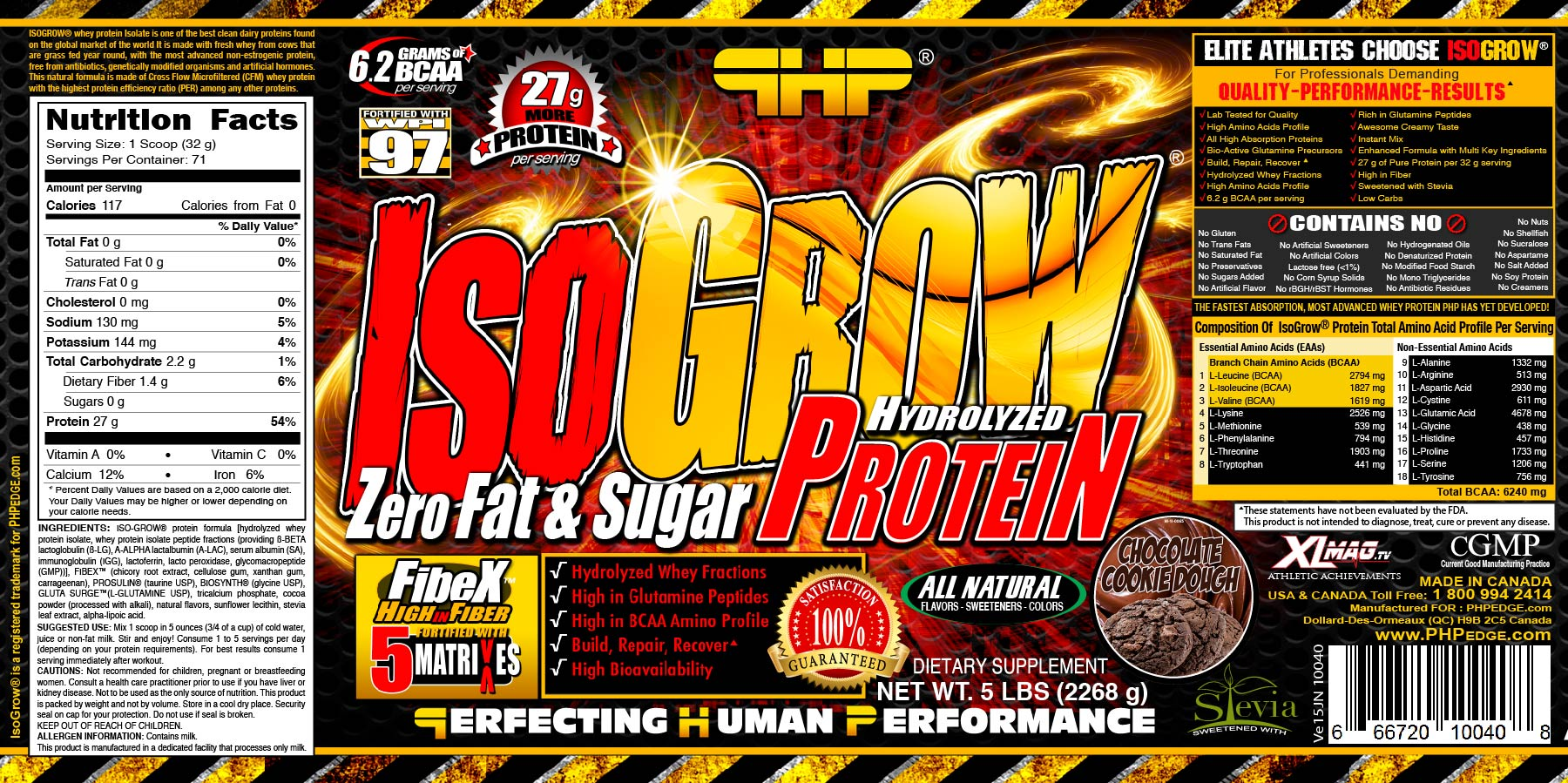 ISOG 2268-CHOC-10040 ISOGROW CHOCOLATE COOKIE DOUGH5 Lbs LABL USA VE15JN