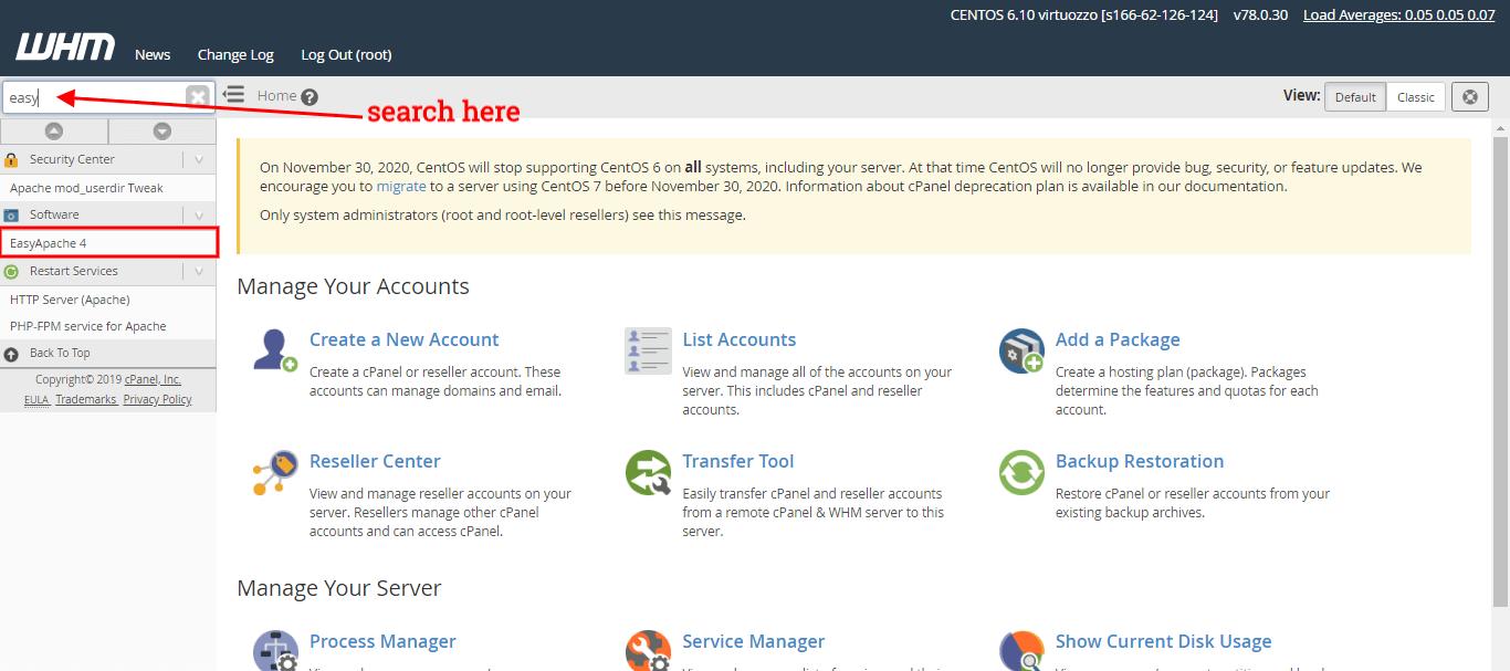 search easyapache in WHM