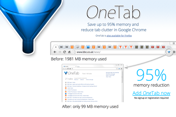 OneTab Extension for Chrome and Firefox