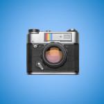 Square photo camera on blue background