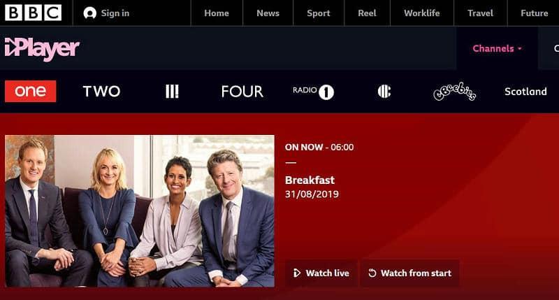 BBC iplayer live TV