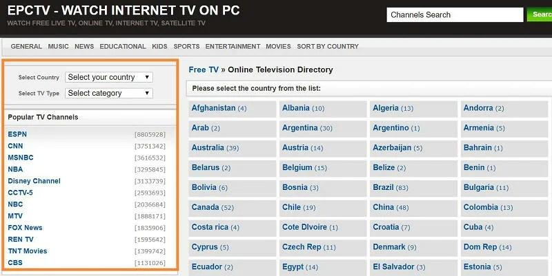 EPCTV - WATCH INTERNET TV ON PC