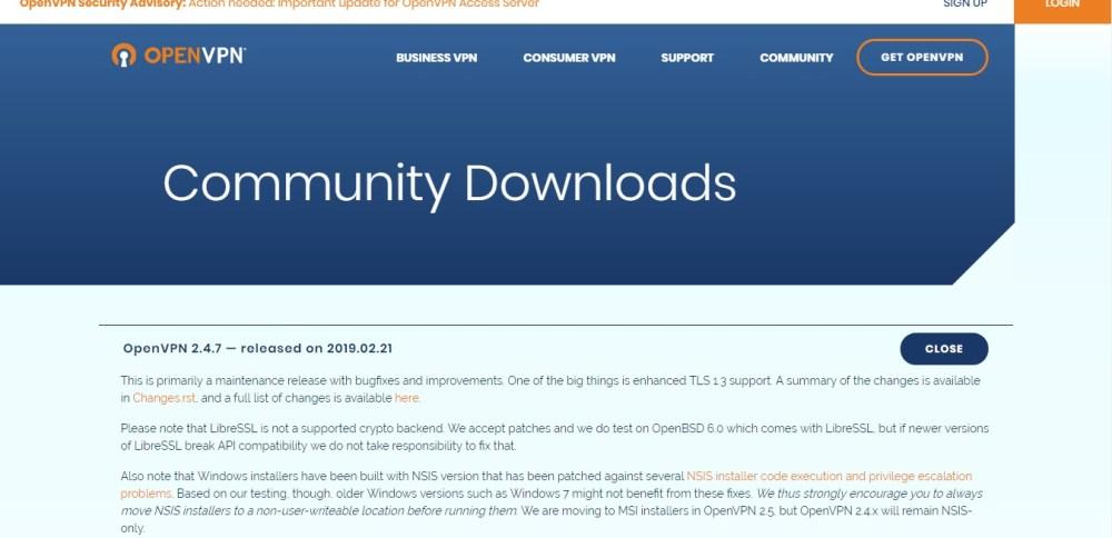openvpn downloads area