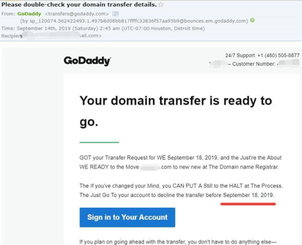 transfer domain notify