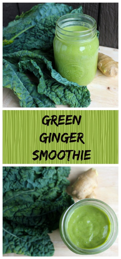 Green Ginger Smoothie with Kale and Flax Seeds (vegan, Low-glycemic)