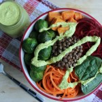 Autumn Vegetable Buddha Bowl Turmeric Ginger Hemp Dressing