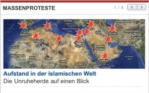 Screenshot: Aufstand in der islamischen Welt auf diepresse.com.