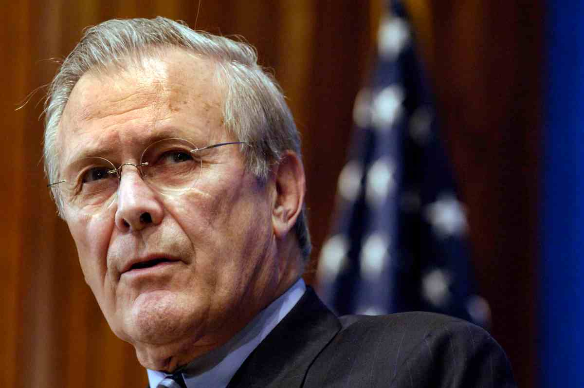 060202-N-0696M-066 Secretary of Defense Donald H. Rumsfeld talks to reporters during the Newsmaker Lunch at the National Press Club in Washington, D.C., on Feb. 2, 2006. Rumsfeld spoke to members about the global war on terrorism and took questions from the audience about numerous defense related topics. DoD photo by Petty Officer 1st Class Chad J. McNeeley. (Released)