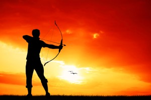 archery at sunset