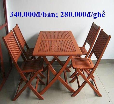 bàn ghế gỗ cafe