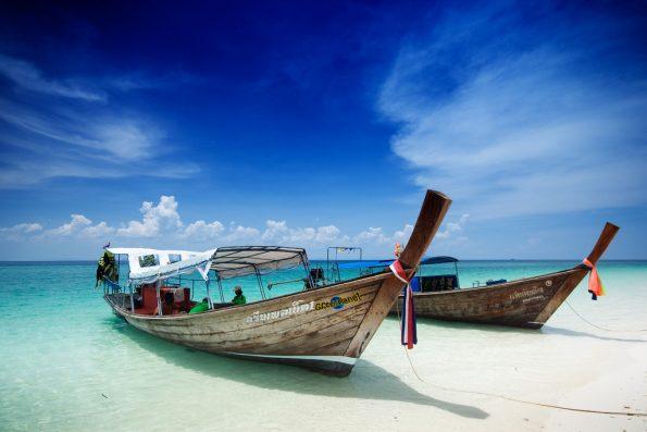 Speedboats on Koh Phi Phi beach