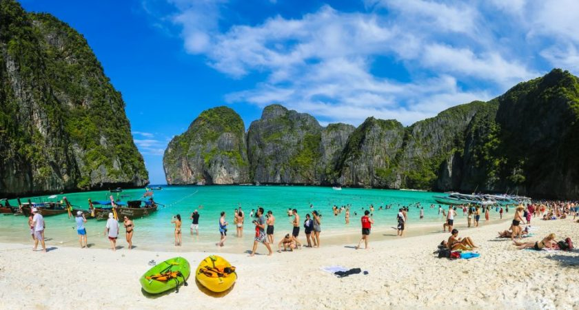 crowded beach on Phuket, Thailand