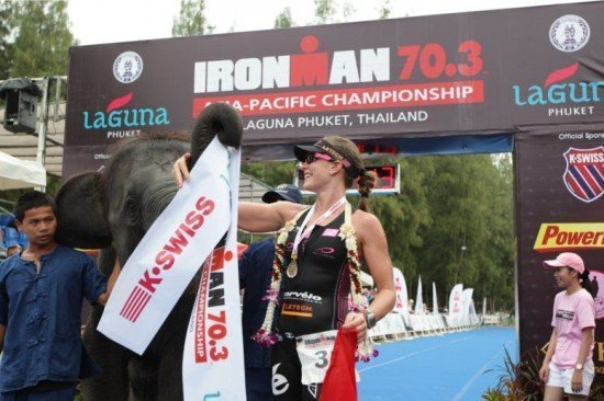 Switzerland's Caroline Steffen celebrates winning the inaugural Ironman 70.3 Asia-Pacific Championship at Laguna Phuket.