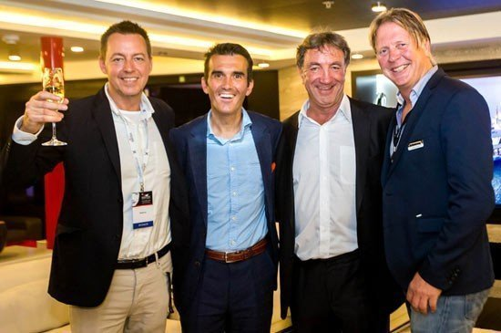 MontAzure celebration: (from left), MontAzure's Jules Kay; M/Y Salzi's Raphael Sauleau; Singapore Yacht Show's Andy Treadwell; and Parkview Private Collection's Darrell Hall.