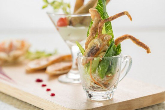 Caesar salad with deep fried solf-shell-crab