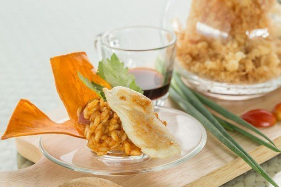 Musaman curry with risotto and grilled chicken