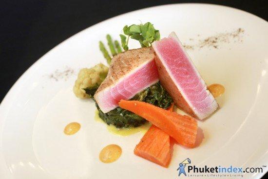 Tuna Steak with Sautéed Spinach, Steamed Vegetables and Mustard Grain Sauce