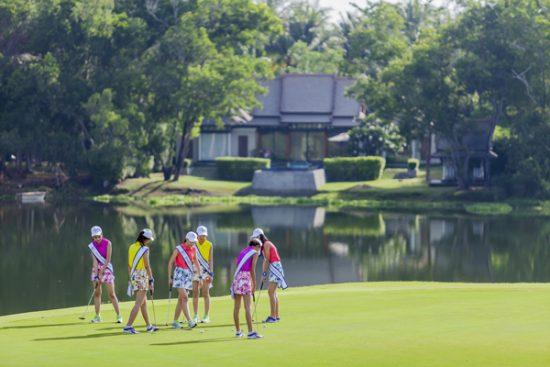 Miss Thailand World 2016's finalists took a swing on the award-winning Laguna Golf Phuket with stunning Banyan Tree Phuket's villa in the background.
