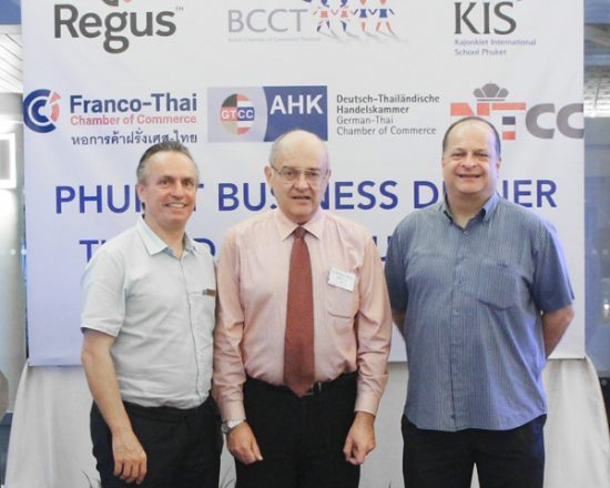 From left to right: Pierre-Andre Pelletier (Vice President and Area General Manager, South Thailand), Stephen Frost (Director, Bangkok International Associates), and Greg Watkins (Executive Director, British Chamber of Commerce Thailand)