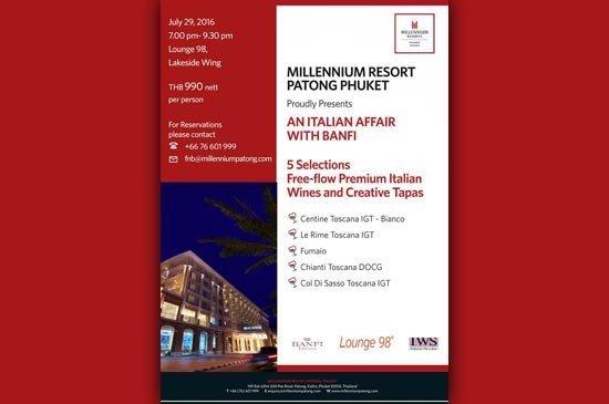 Wine taste dinner at Millennium Resort Patong Phuket