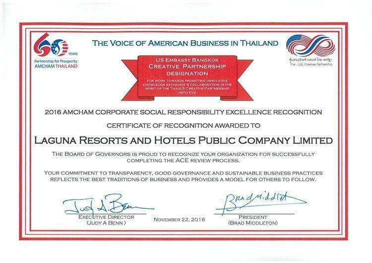 Laguna Phuket Received Triple Nod at 2016 AMCHAM CSR Excellence (ACE) Recognition Highlighting the Resort's long-term contribution in CSR and community development